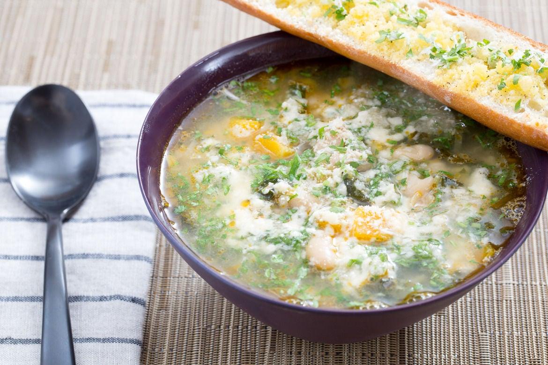 Butternut Squash & Kale Minestrone with Horseradish Gremolata & Parmesan Toast