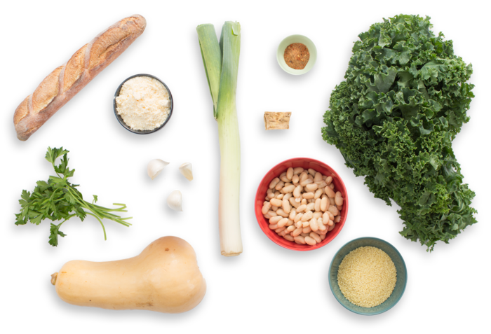 Butternut Squash & Kale Minestrone with Horseradish Gremolata & Parmesan Toast ingredients