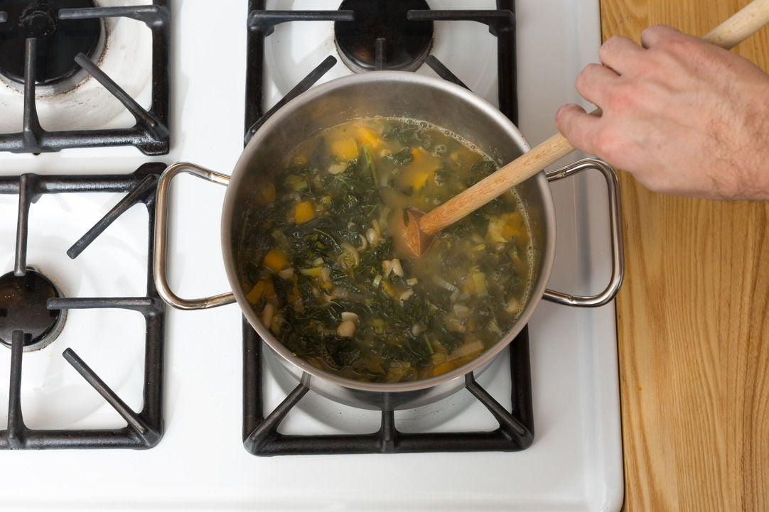 Add the beans, kale & squash: