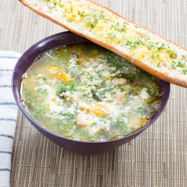 Butternut Squash & Kale Minestrone with Horseradish Gremolata & Parmesan Toast