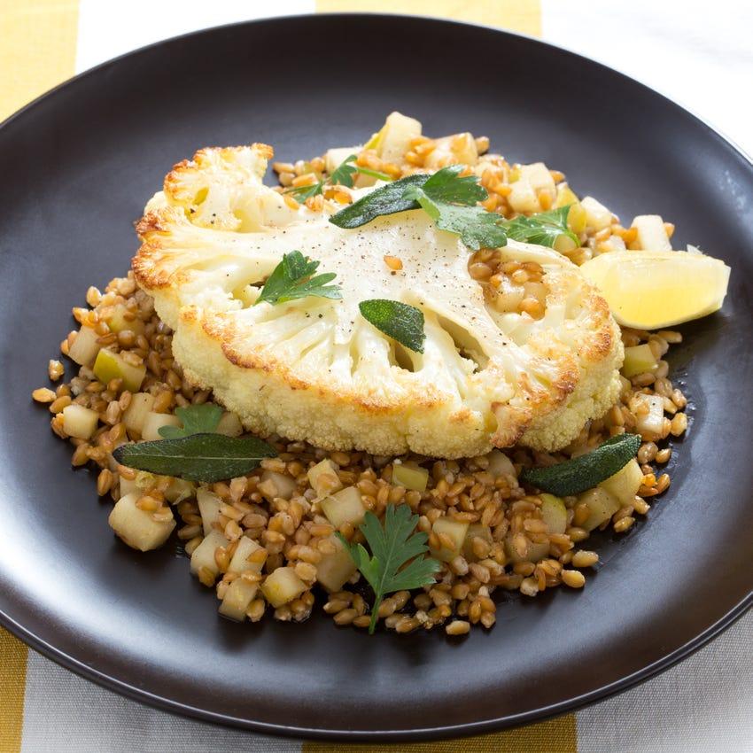 Roasted Cauliflower Steaks with Einkorn & Crispy Sage