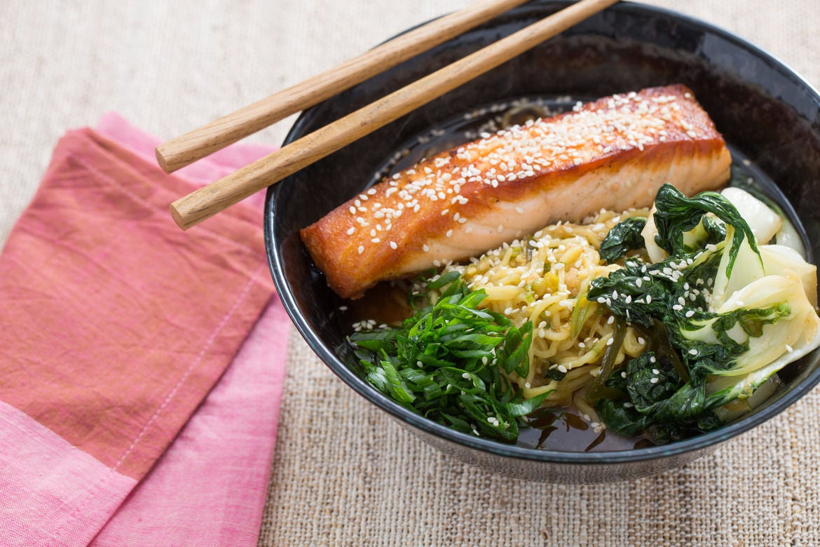 Recipe Pan Roasted Salmon With Spicy Miso Broth Amp Wakame