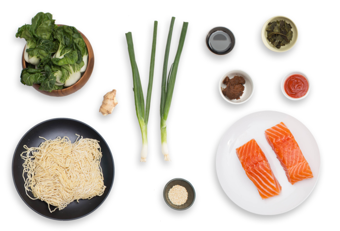 Pan-Roasted Salmon with Spicy Miso Broth & Wakame ingredients