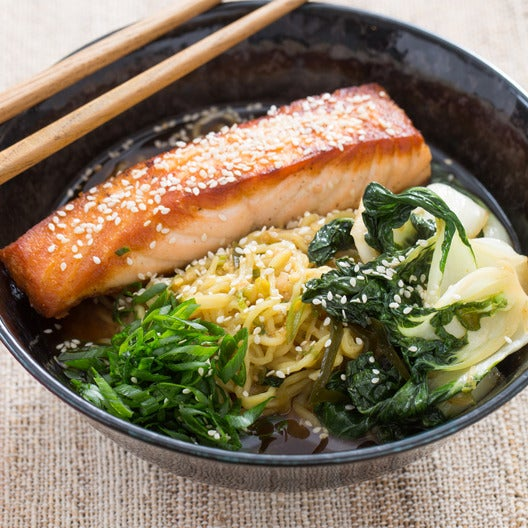 Pan-Roasted Salmon with Spicy Miso Broth & Wakame