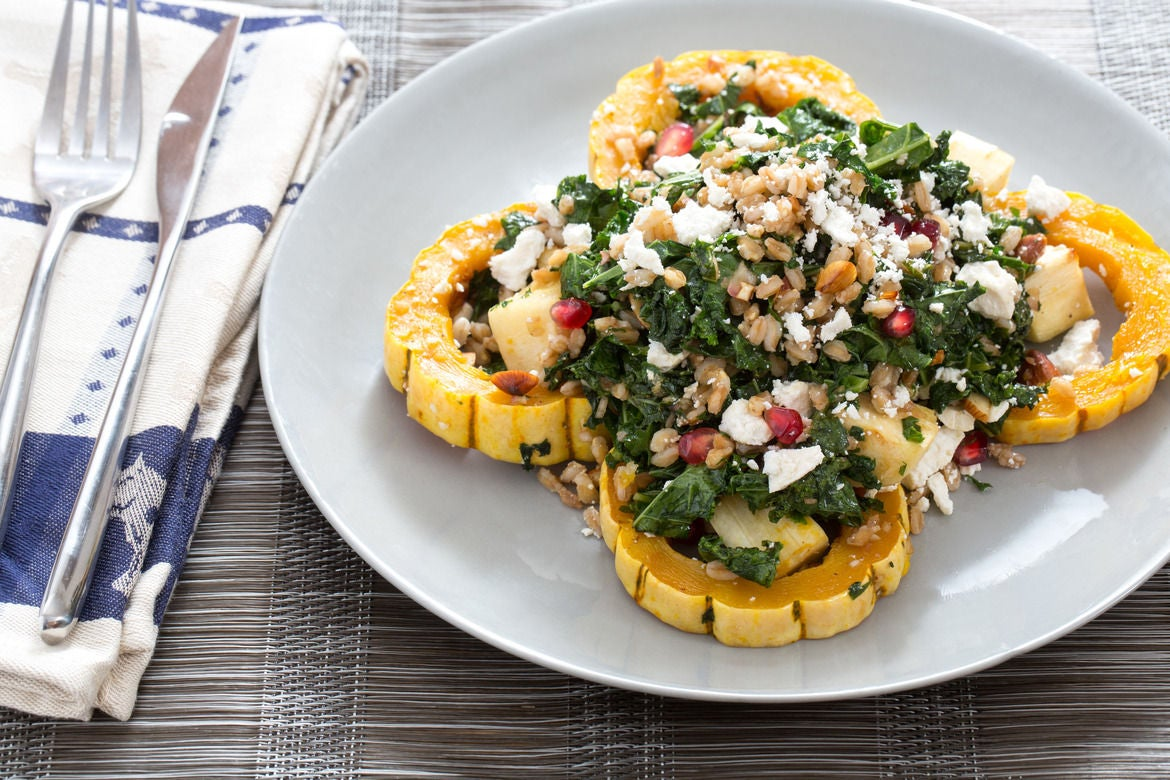 Warm Squash & Kale Salad with Pearled Farro & Pomegranate Dressing