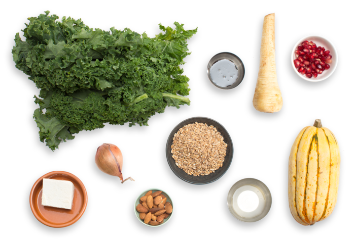 Warm Squash & Kale Salad with Pearled Farro & Pomegranate Dressing ingredients