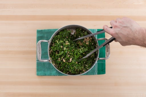 Cook the farro & add the kale: