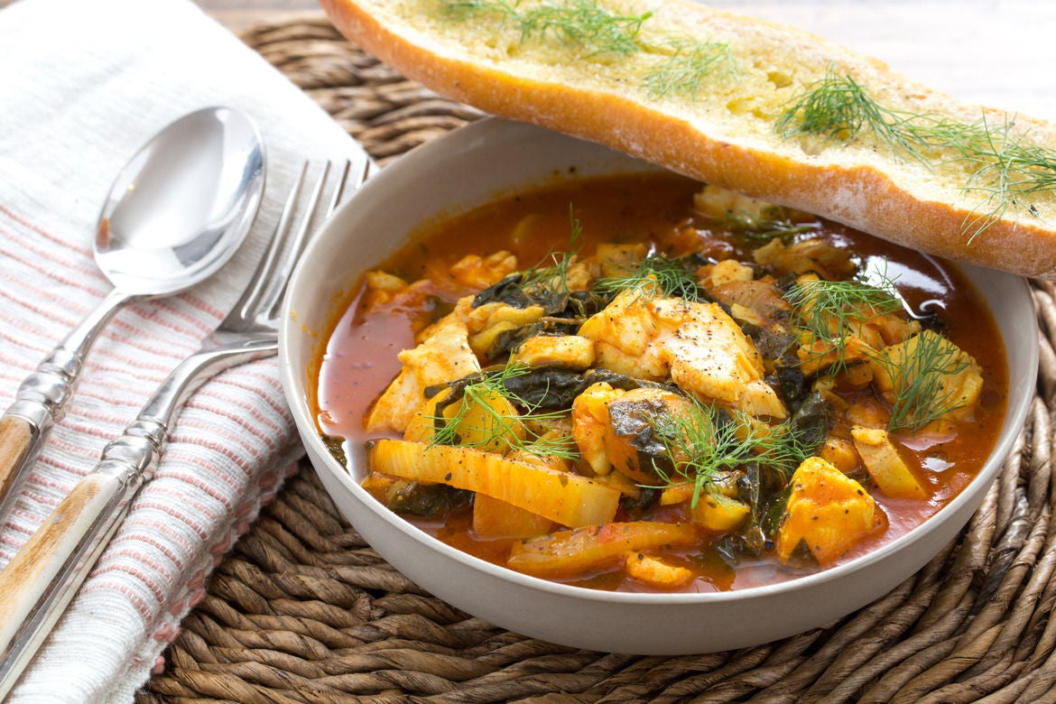 Bouillabaisse-Style Fish Stew with Fennel, Potatoes & Castelvetrano Olives