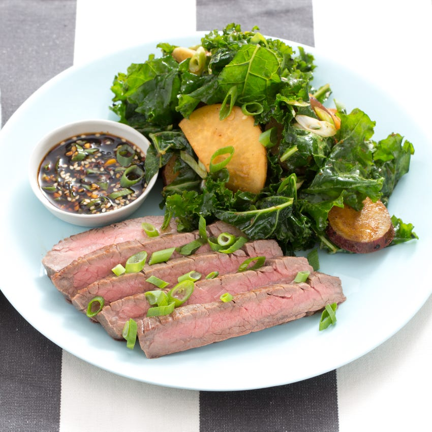 Steak & Miso-Roasted Vegetable Salad with Ponzu Dipping Sauce