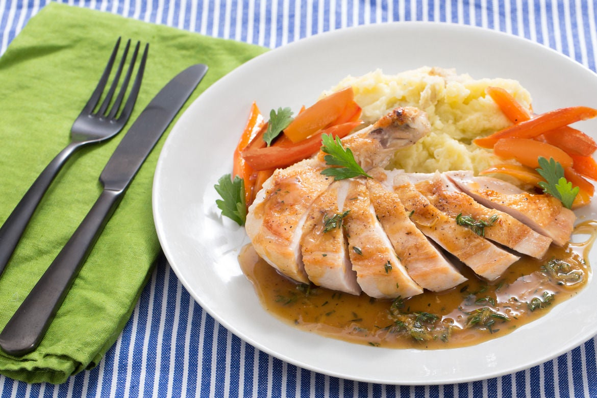 Pan-Roasted Chicken with Mashed Potatoes & Maple-Glazed Carrots ...