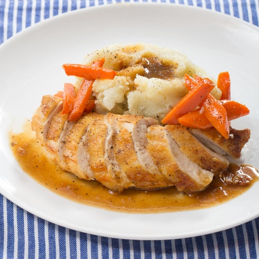 Seared Chicken & Mashed Potatoes with Maple-Glazed Carrots & Pan Sauce