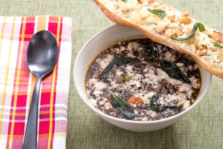 Lentil Minestra with Crispy Sage & Fontina-Walnut Toast