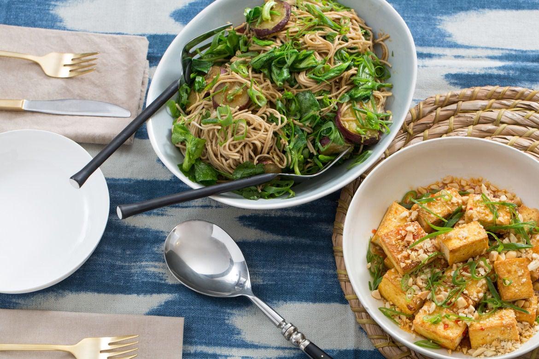 Seared Tofu & Soba Noodles with Japanese Sweet Potatoes & Pea Tips