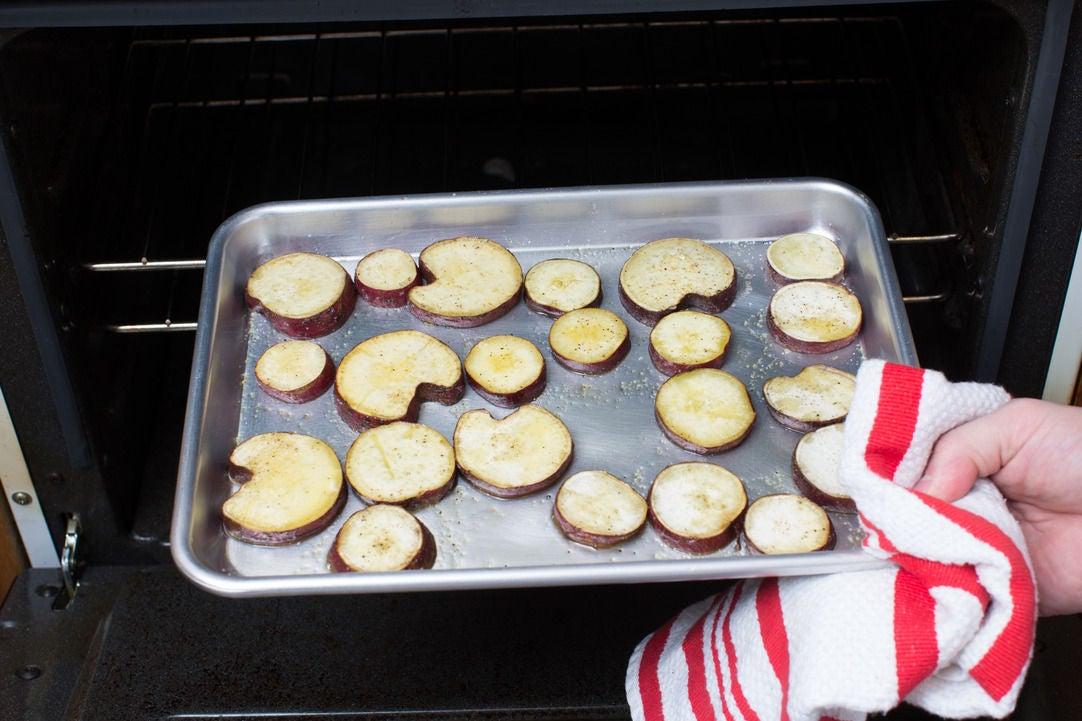 Roast the sweet potatoes: