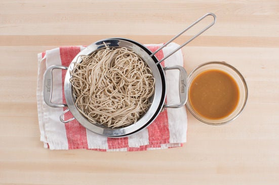 Cook the noodles & make the soba sauce: