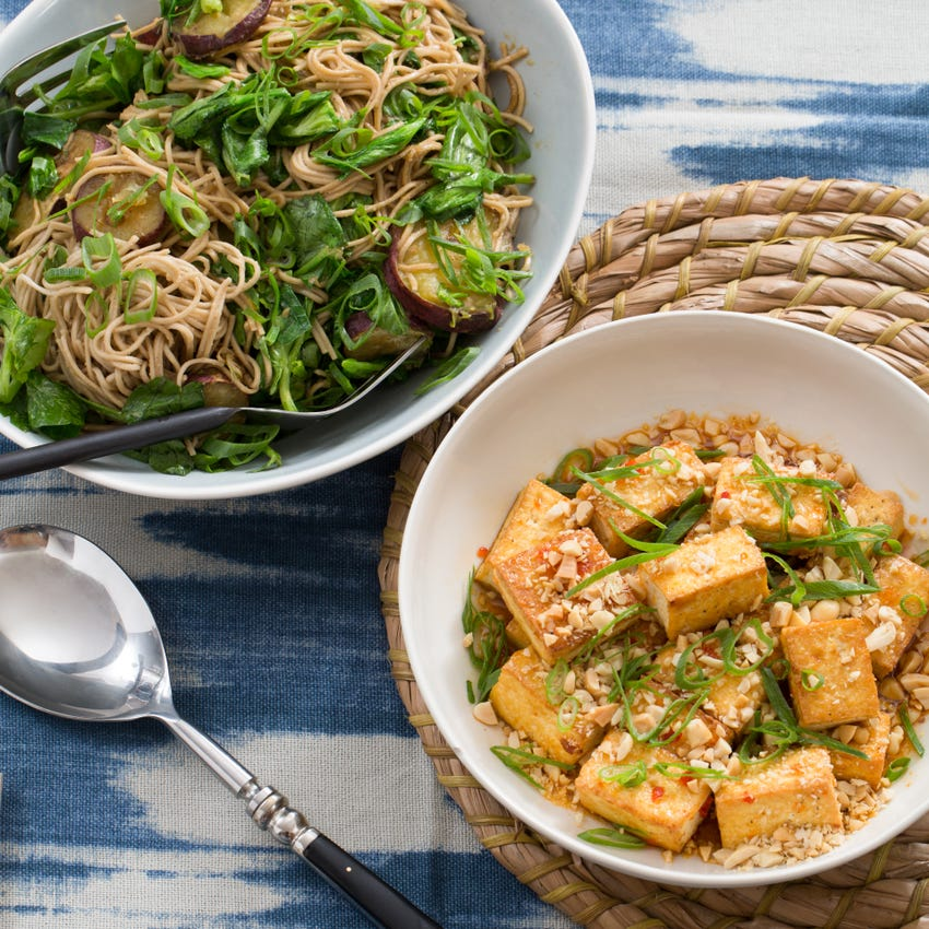 Seared Tofu & Soba Noodles with Japanese Sweet Potatoes & Pea Tips