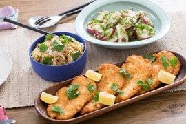 Chicken Schnitzel with German-Style Potato Salad & Quick Sauerkraut