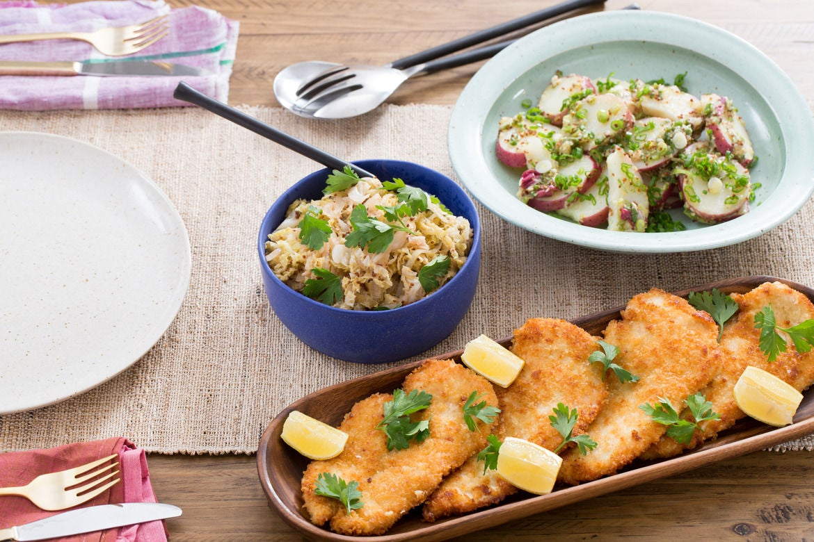 Chicken Schnitzel with German-Style Potato Salad & Quick Sauerkraut
