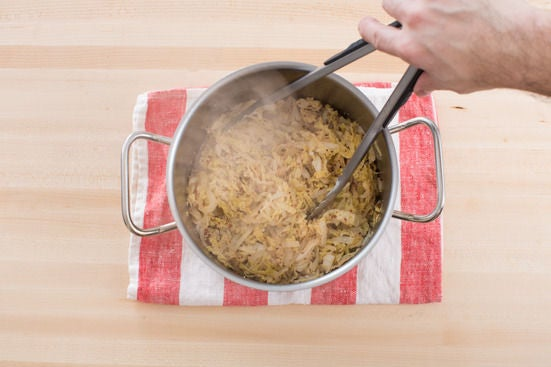Make the quick sauerkraut: