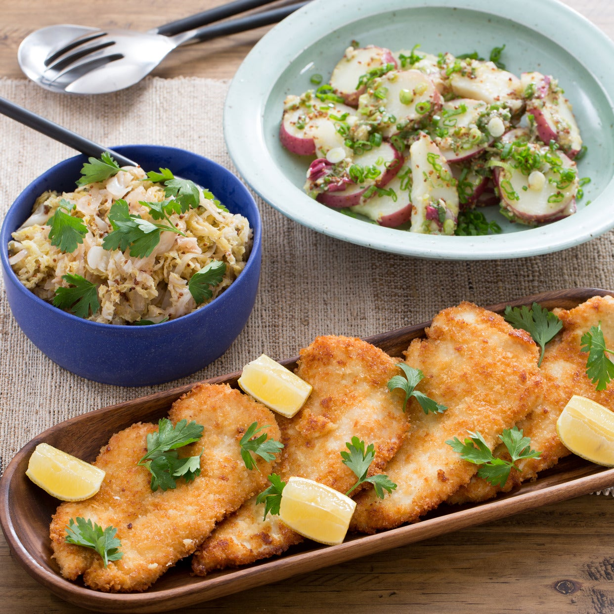 Recipe chicken schnitzel with german style potato salad quick chicken schnitzel with german style potato salad quick sauerkraut forumfinder Images