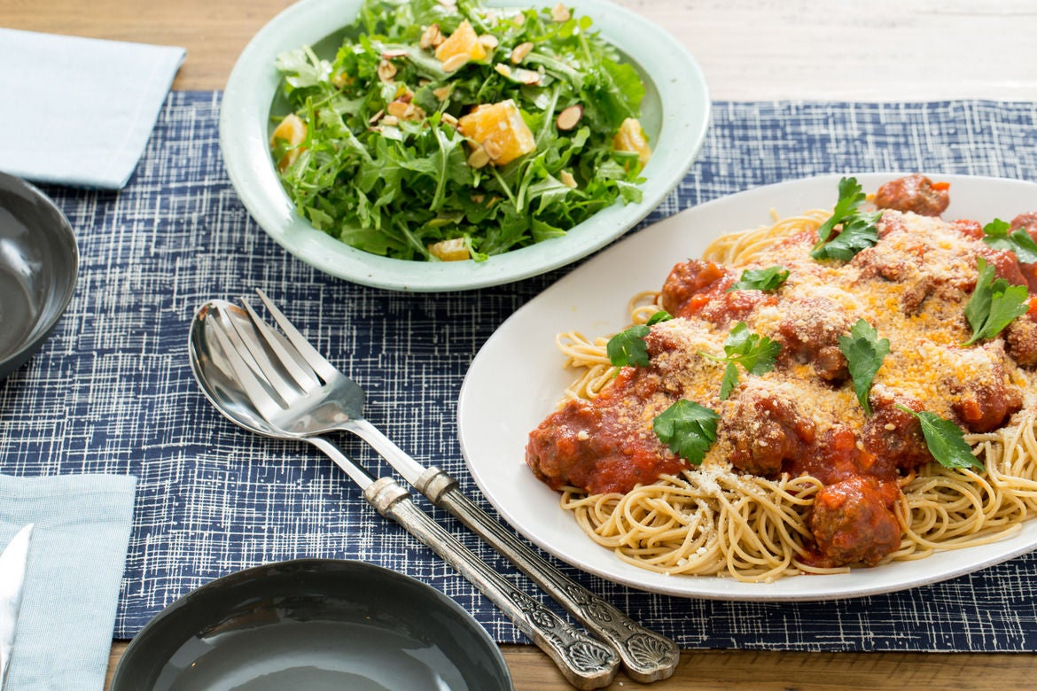 Whole Wheat Spaghetti & Meatballs with Arugula, Tangelo & Parmesan Salad