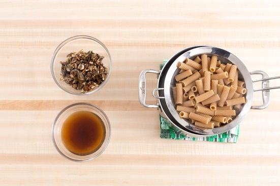 Cook the pasta & prepare the porcini mushrooms: