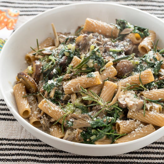 Whole Wheat Rigatoni with Wild Mushrooms & Swiss Chard