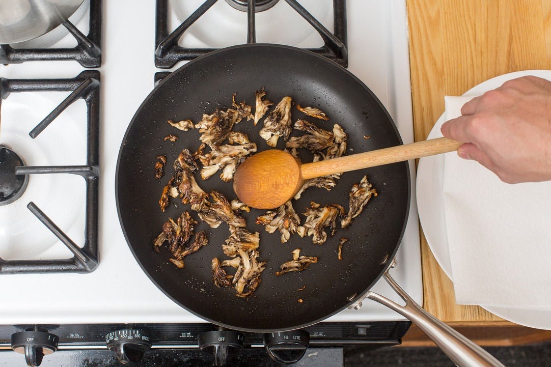 Crisp the mushrooms: