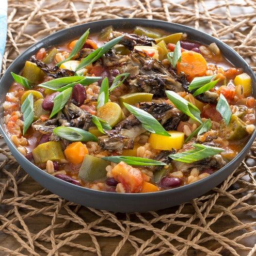 Farro Jambalaya with Crispy Maitake Mushrooms
