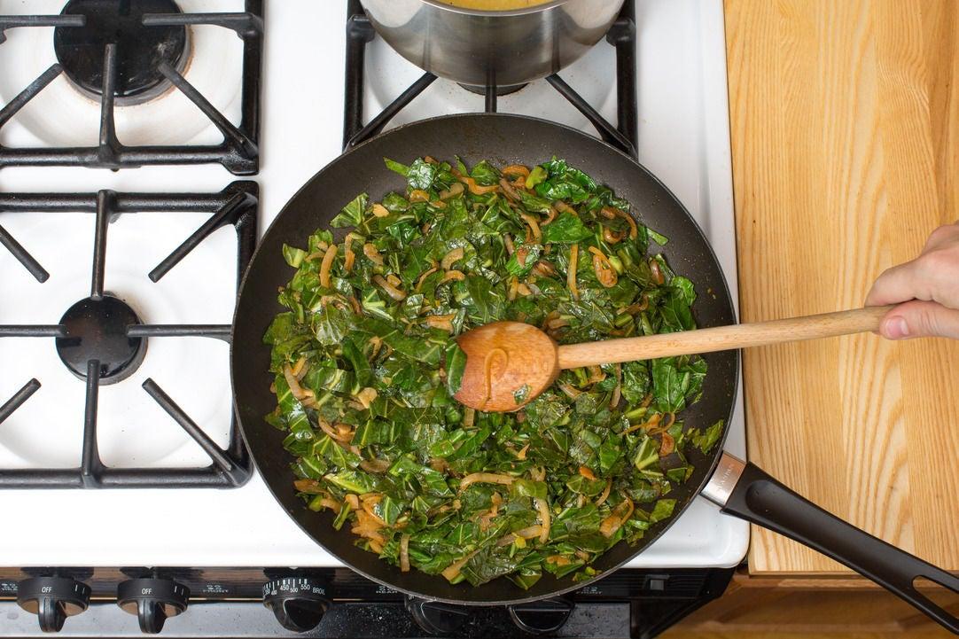 Add the collard greens: