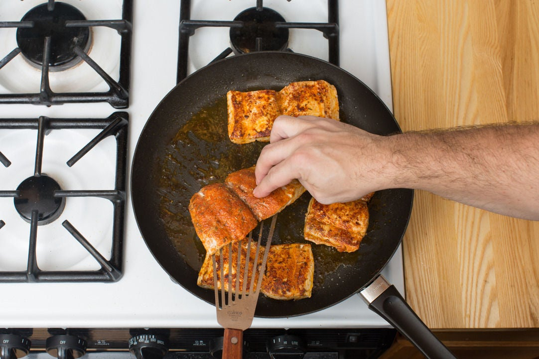 Recipe blackened cajun drum with collard greens cheddar for How to cook drum fish