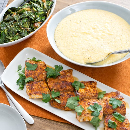 Blackened Cajun Drum with Collard Greens & Cheddar Grits