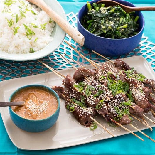 Chinese BBQ Beef Skewers with Garlic Gai Lan & Jasmine Rice