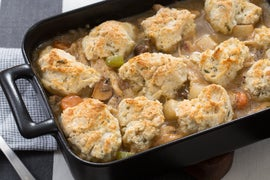 Chicken & Sage Biscuit Pot Pie with Cremini Mushrooms & Purple Top Turnip