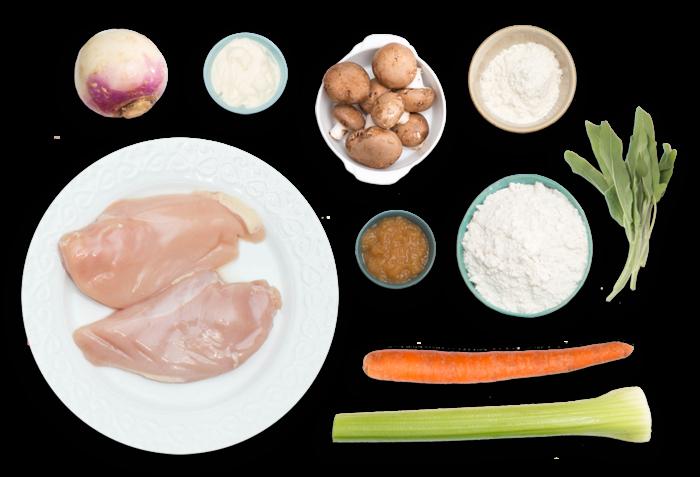 Chicken & Sage Biscuit Pot Pie with Cremini Mushrooms & Purple Top Turnip