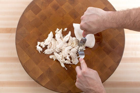 Poach & shred the chicken: