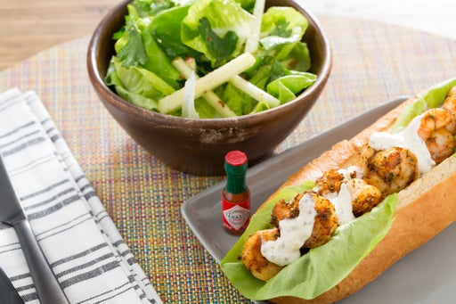 Shrimp Po' Boy Sandwiches with Butter Lettuce & Apple Salad