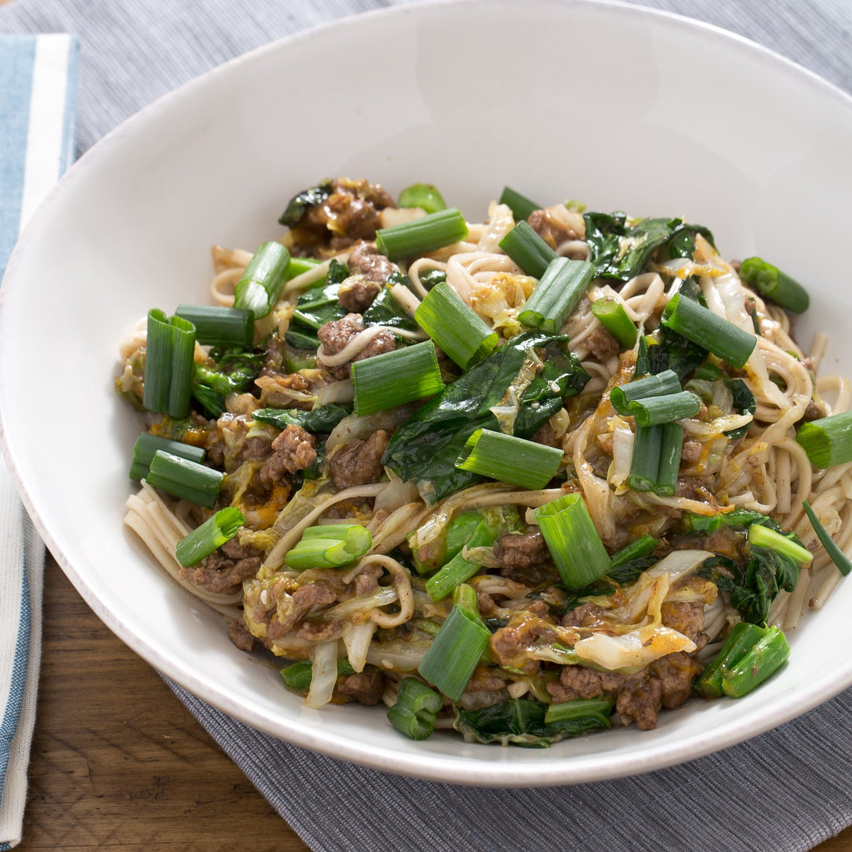 Orange Beef Lo Mein with Gai Lan & Napa Cabbage