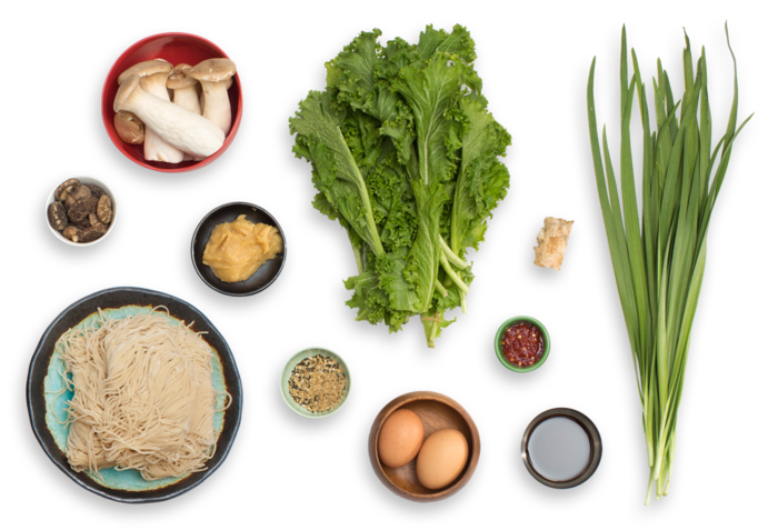 Winter Mushroom Ramen with Mustard Greens & Soft-Boiled Eggs ingredients