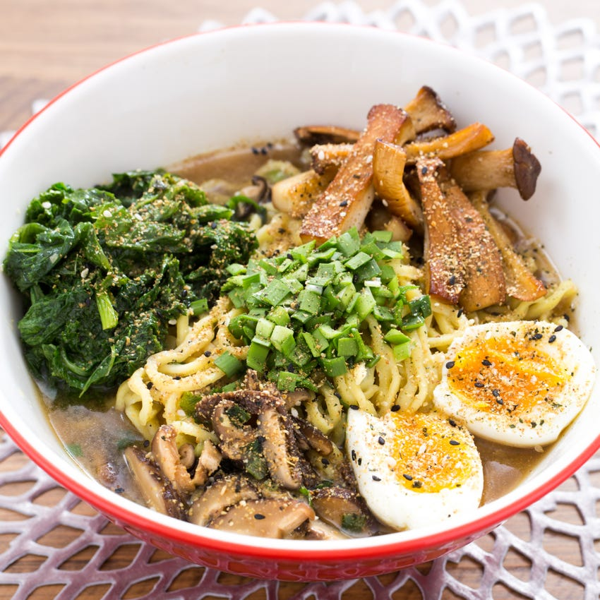 Winter Mushroom Ramen with Mustard Greens & Soft-Boiled Eggs