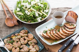 Roast Pork & Smashed Potatoes with Apple, Walnut & Goat Cheese Salad