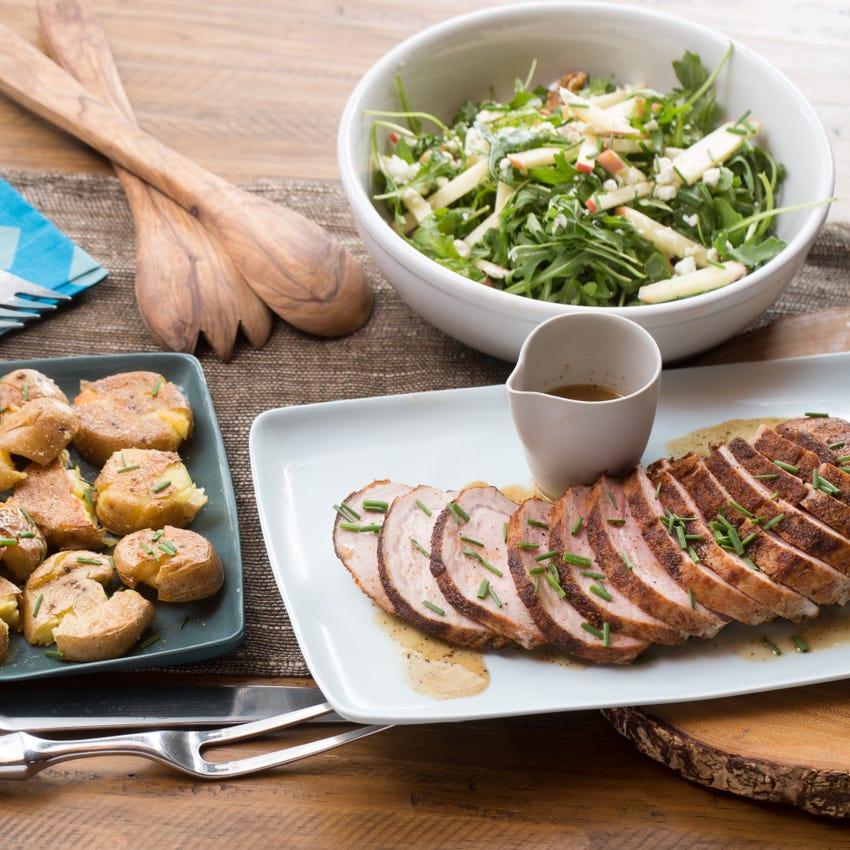Roast Pork & Smashed Potatoes with Apple, Walnut & Goat Cheese Salad