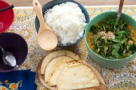 Coconut Chicken & Kale Stew with Ginger Rice & Naan