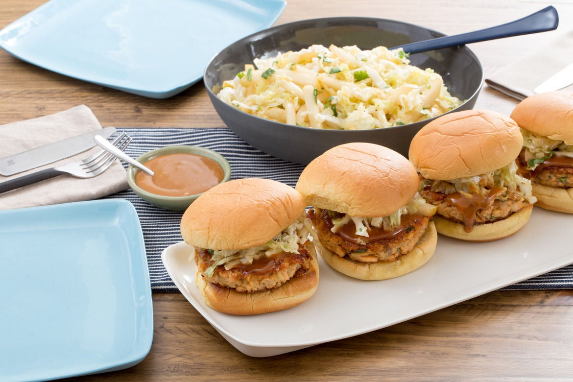 Salmon Burgers with Hoisin Mayonnaise & Asian Pear-Cabbage Slaw