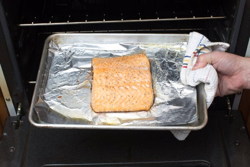 Roast & flake the salmon:
