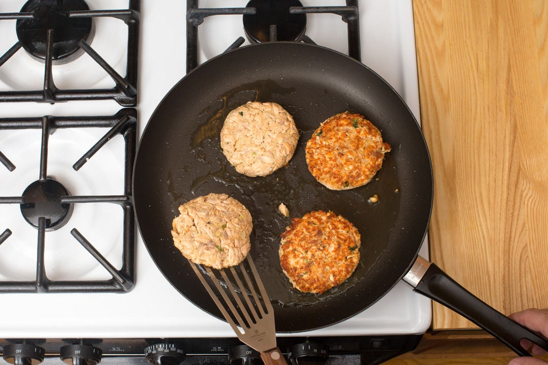 Cook the salmon burgers: