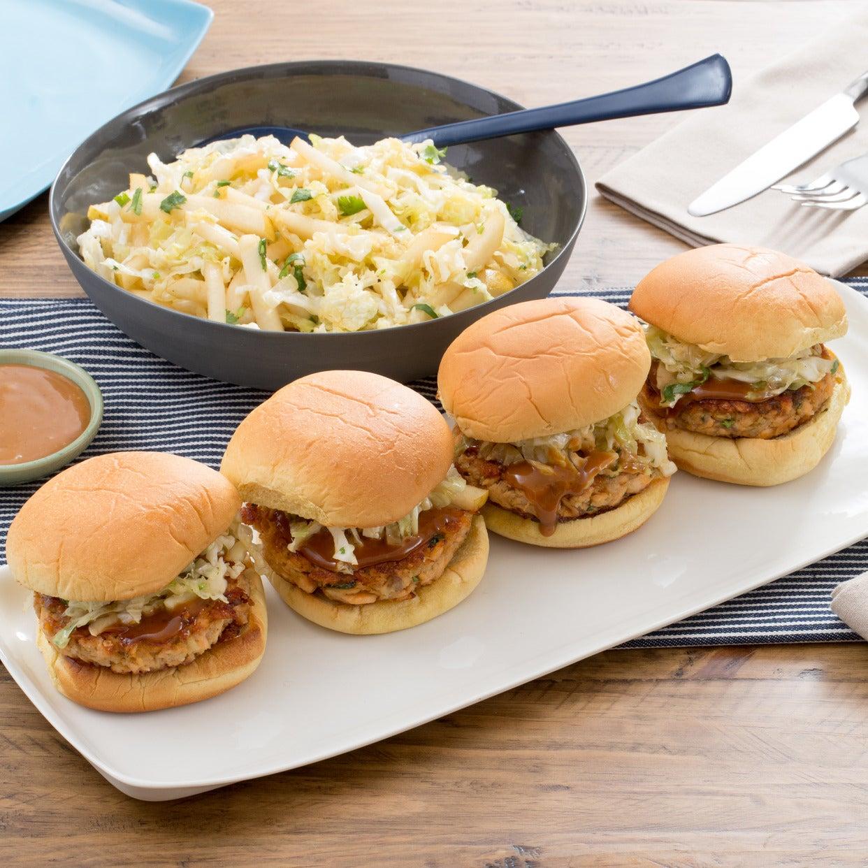 Salmon Burgers with Hoisin Mayonnaise & Asian Pear-Cabbage Slaw