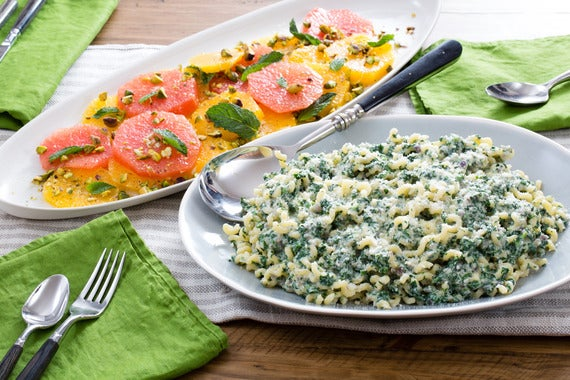 Recipe: Ricotta & Spinach Pasta with Citrus, Pistachio & Mint Salad ...
