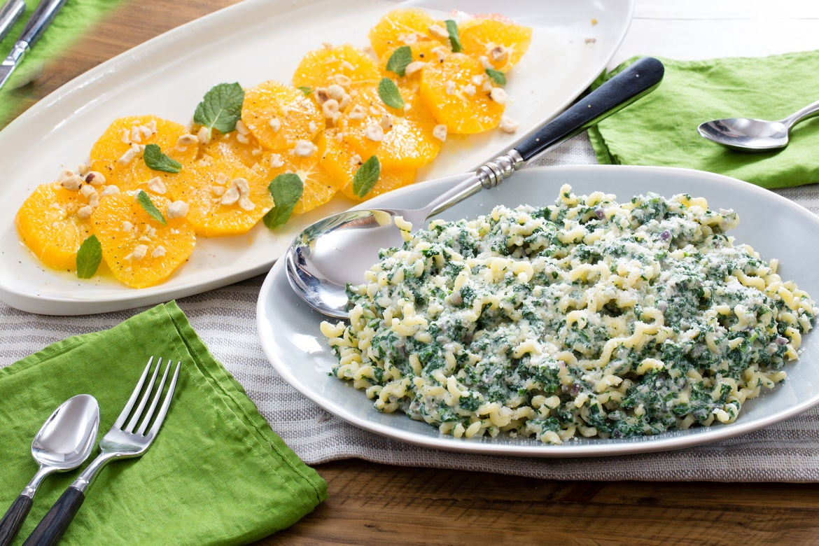 Ricotta & Spinach Pasta with Orange, Hazelnut & Mint Salad