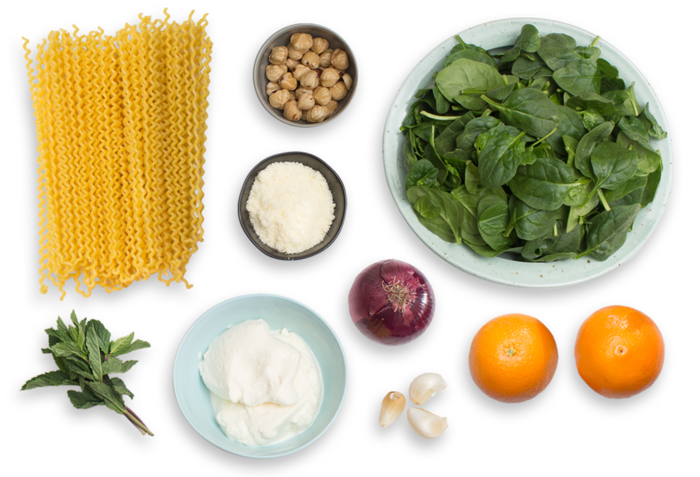 Ricotta & Spinach Pasta with Orange, Hazelnut & Mint Salad ingredients